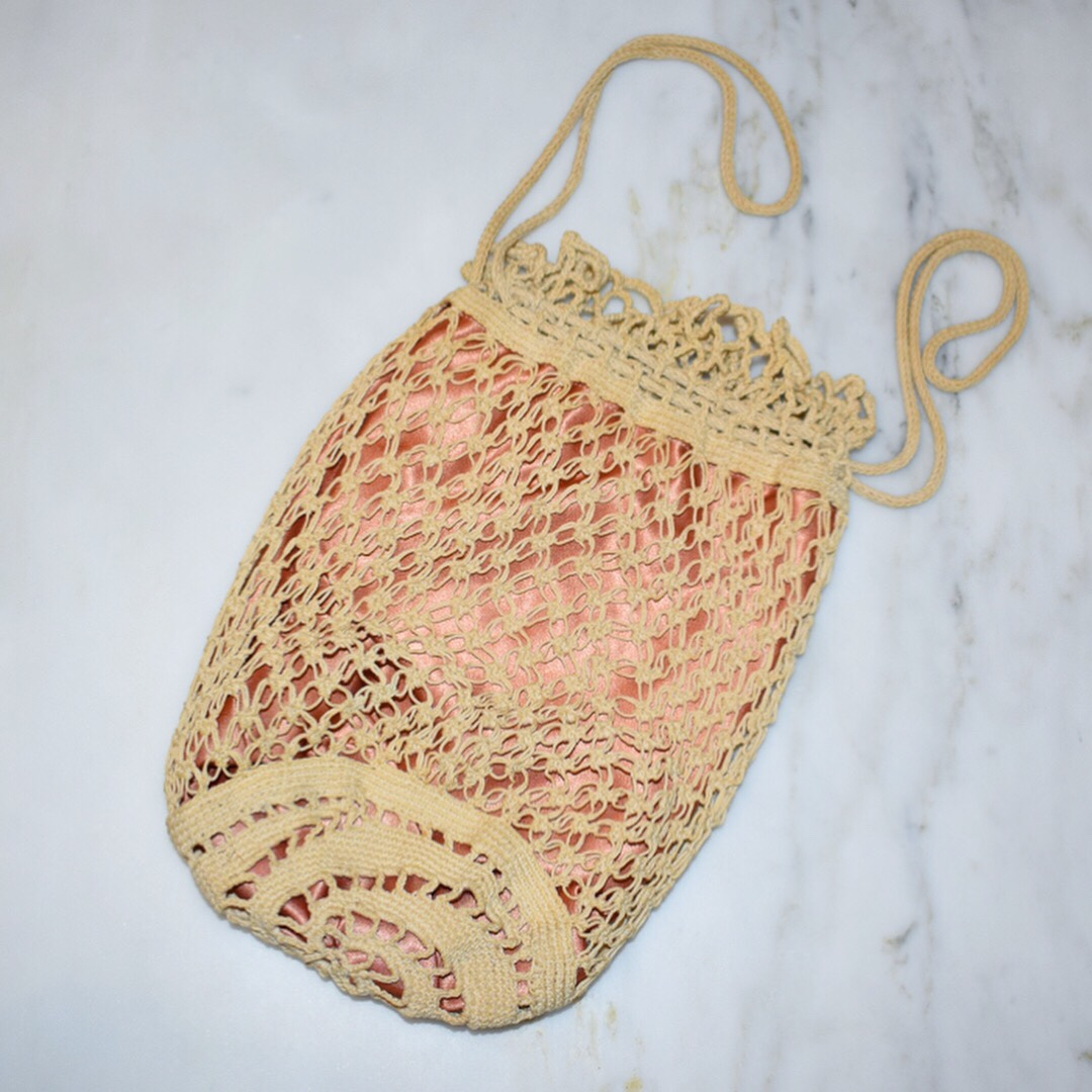 Antique Crocheted Drawstring Bag Mesh Creme Crocheted On Depop