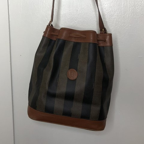 9f8ac2385cc9 Vintage Fendi Shoulder Bucket Bag Classic Stripe Drawstring - Depop