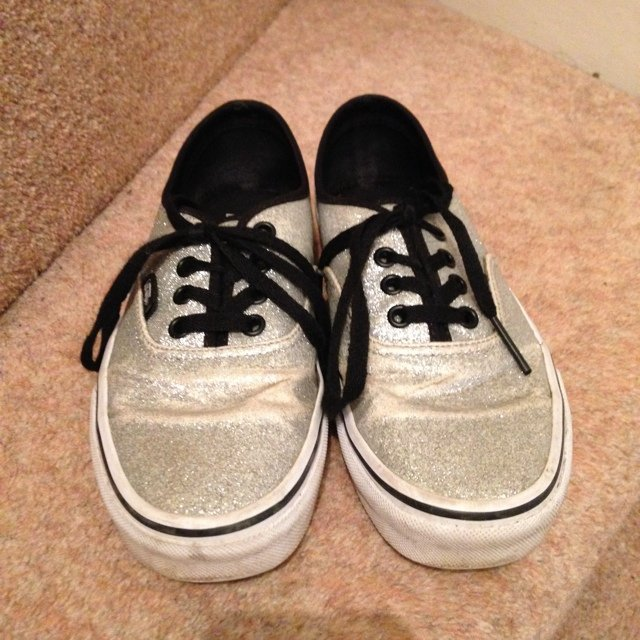 79e0b1db718197 Silver Glitter Vans   Size 4 but will also fit size 5   and - Depop