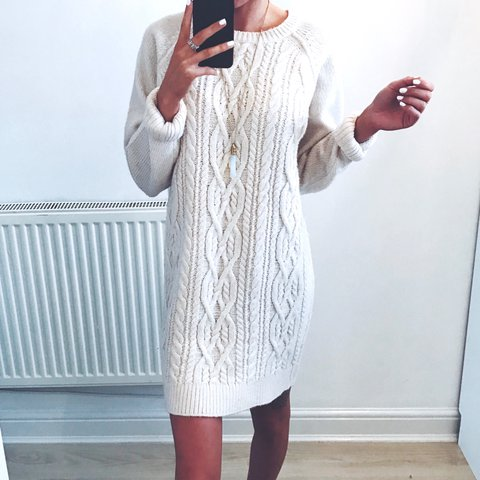 be6241c3911 Cream oversized cable knit jumper dress    Size small ( will - Depop
