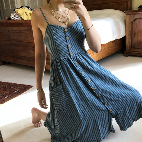 79f56b8f021d Light and navy blue striped midi summer dress with buttons - Depop