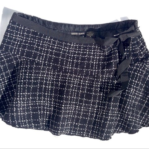 c3e90d9fcc Guess black and white check skirt. Woven textured fabric. on - Depop