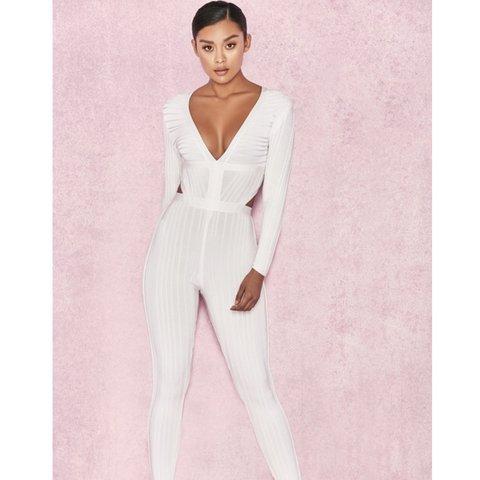 e27f4eb26a7 House of CB  ARYA  white plunge neck jumpsuit Size XS worn - Depop