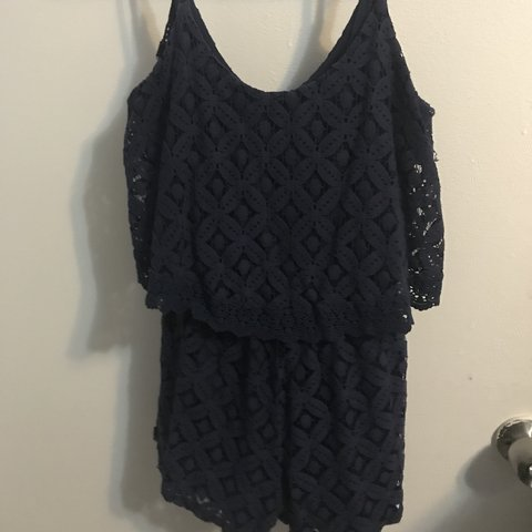 5671db9419d Navy blue romper Crochet maybe lace material on top and - Depop
