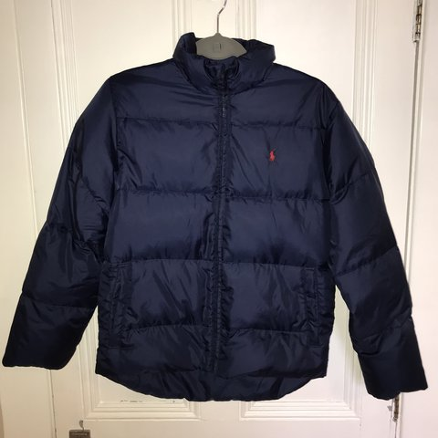 098329216 @izzyrenouccie. 2 years ago. Liverpool, United Kingdom. Polo Ralph Lauren  navy down jacket. Kids ...