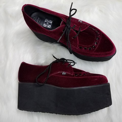 0f5612a3c9c T.U.K. burgundy red platform shoes. These seem to be marked - Depop