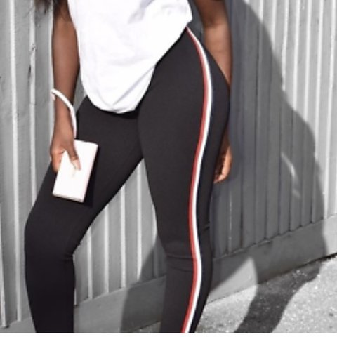 00cf4737f8f95a @bankee. last year. Gravesend, United Kingdom. Black side stripe red white  leggings 😍Trendy outfit ...