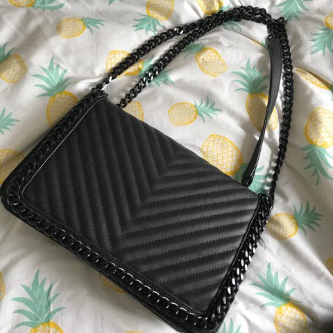 7e1d5463f39 ALDO  Greenwald  black crossbody quilted bag with chain for - Depop