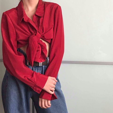 b122bd61c @georgiagray_. 8 months ago. Gainsborough, United Kingdom. GORGEOUS red  long sleeve button up shirt with ruffles down ...