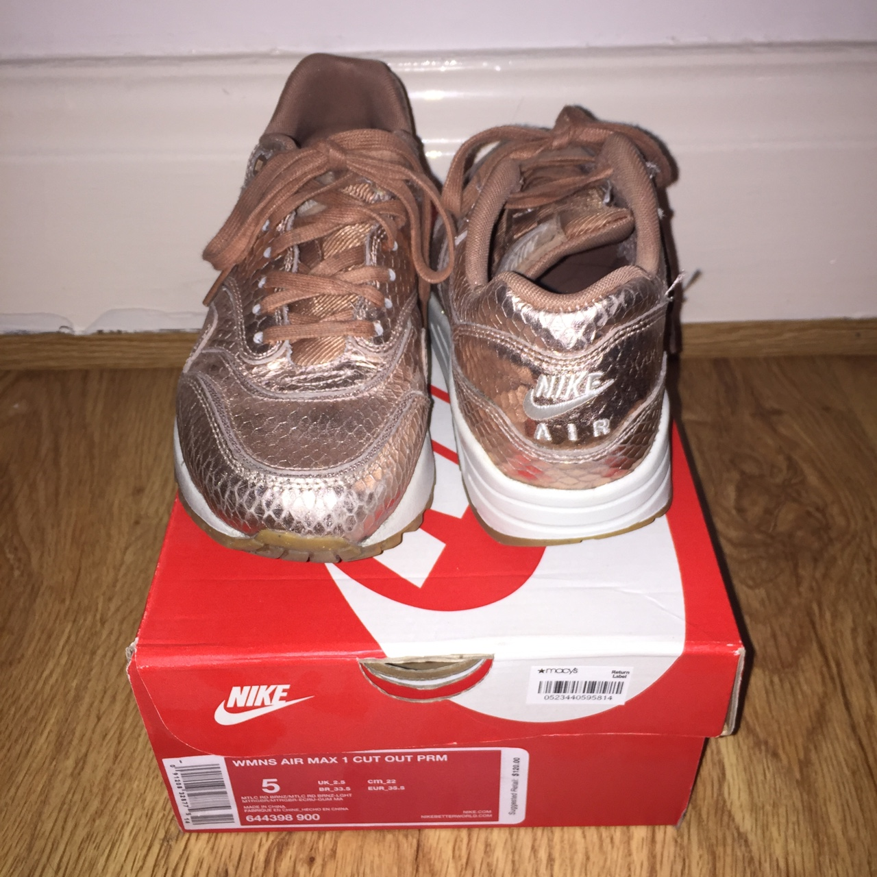 Nike women's Air Max 1 AM1 Cut Out PRM. Rose gold Depop