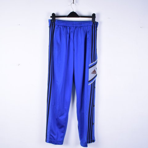 8085b032790 Vintage Adidas blue tracksuit bottoms with poppers, elastic - Depop