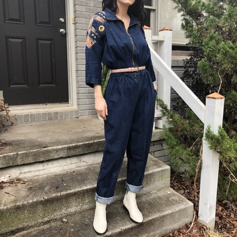 cfedb9224e3 Unique vintage 80s denim jumpsuit with studded