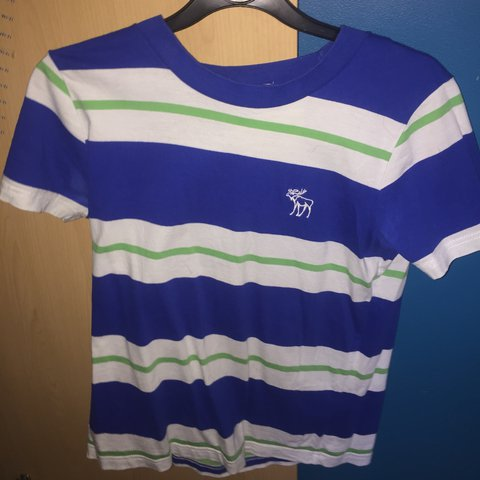 07f1880199 @luke1209. last year. Belfast, UK. Blue, white and green striped Abercrombie  and Fitch simple logo T-shirt. size S. ...