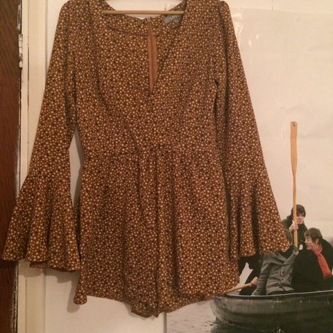 8c30ab1792 RESERVED • Love 70s inspired brown polkadot bell sleeve • I - Depop