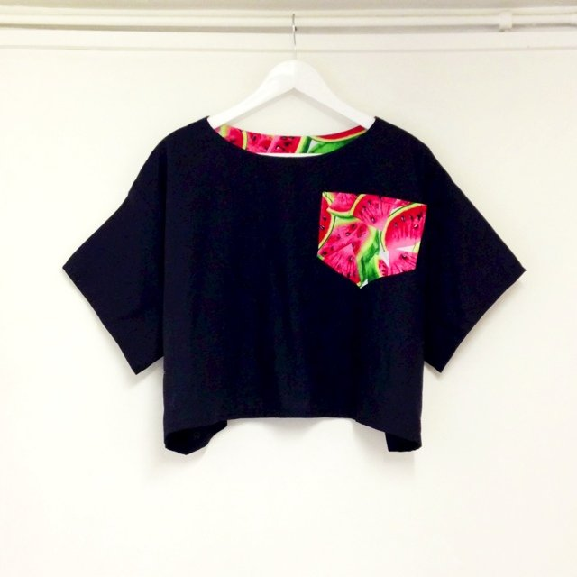 7cb4785b755b5a SAMPLE SALE!! Over sized cotton crop top with watermelon One - Depop