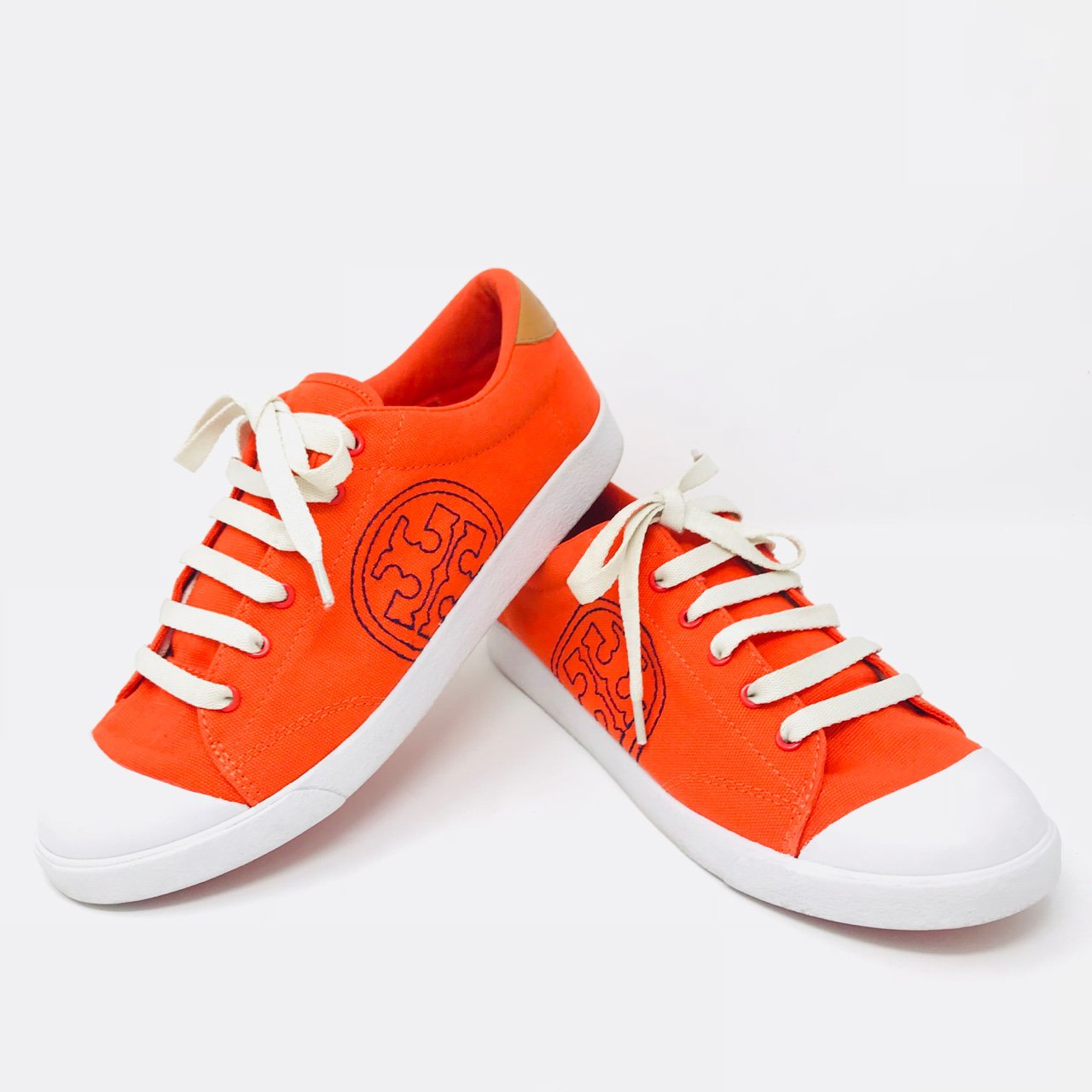 88f867087aec58 Gorgeous Orange Tory Burch sneakers. Shoes are in great pre - Depop