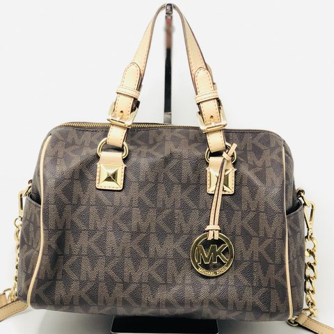 146641ee05eb Gorgeous Michael Kors Grayson Satchel in monogram brown and - Depop