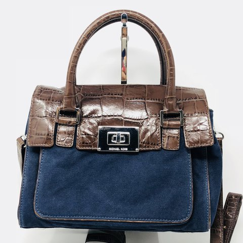 f5e39286269a Beautiful navy canvas and brown embossed croc print Michael - Depop