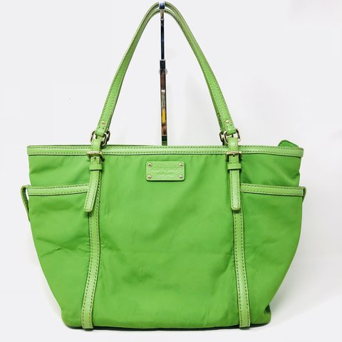 bcdd26131 Gorgeous bright green Kate Spade Nylon tote with leather a a - Depop