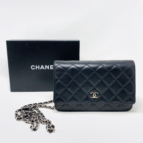 7574ccc4803ade Gorgeous authentic Chanel Woc in black lamb skin leather. is - Depop