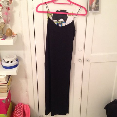 7d13cfe1855d @chicandlemonade. 3 years ago. United Kingdom. Zara black thin strap Cami  dress. Never worn. Size XS. Will fit a size 6/8.