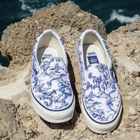 """44ab0943195 NIB Vans for Opening Ceremony """"Chinoiserie"""" slip-ons. size a - Depop"""