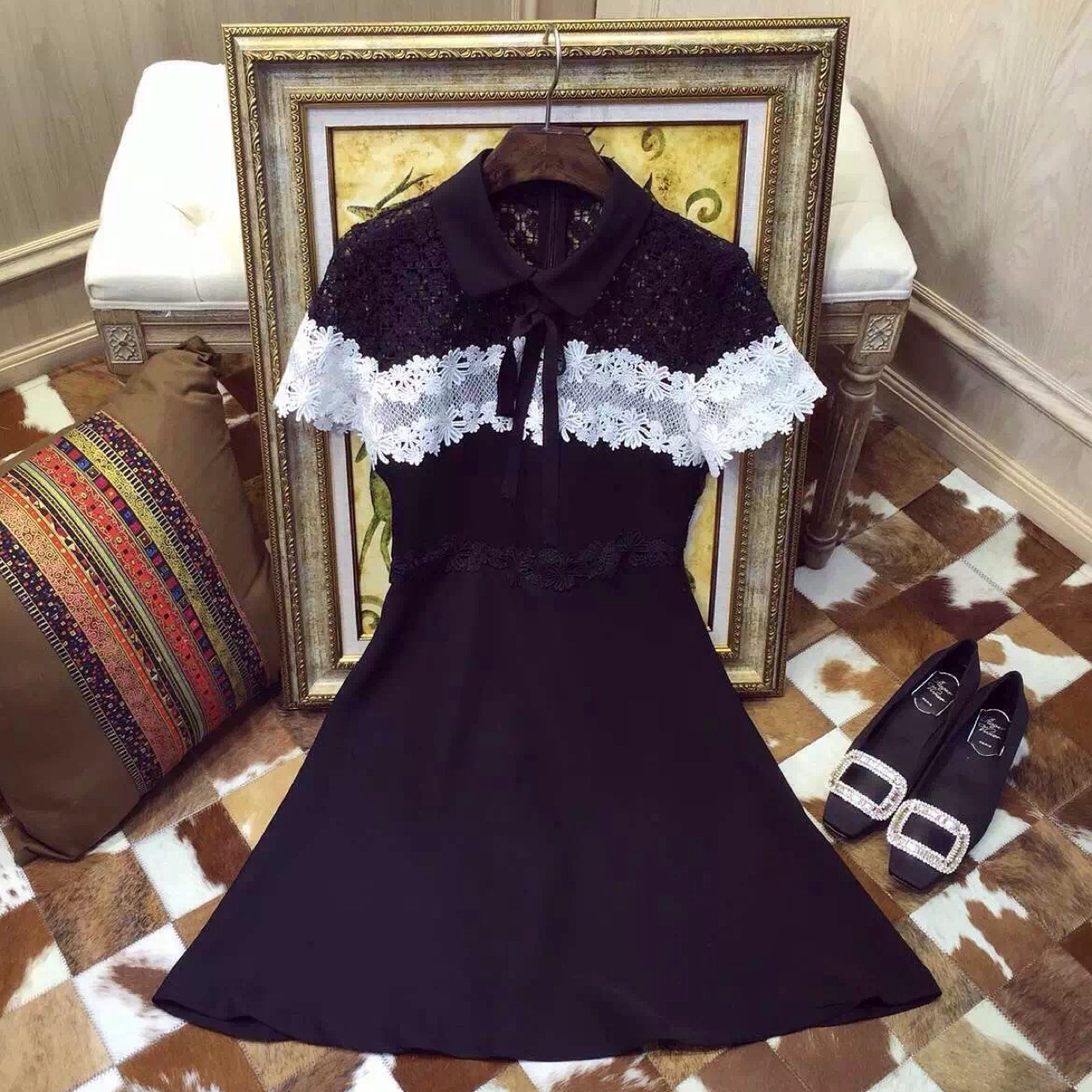 Sandro Lace One Piece Dress With Bowknot Black And Depop