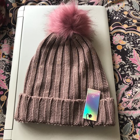 76f38c4c016 Misguided pink metallic knit faux fur beanie. Never worn. to - Depop