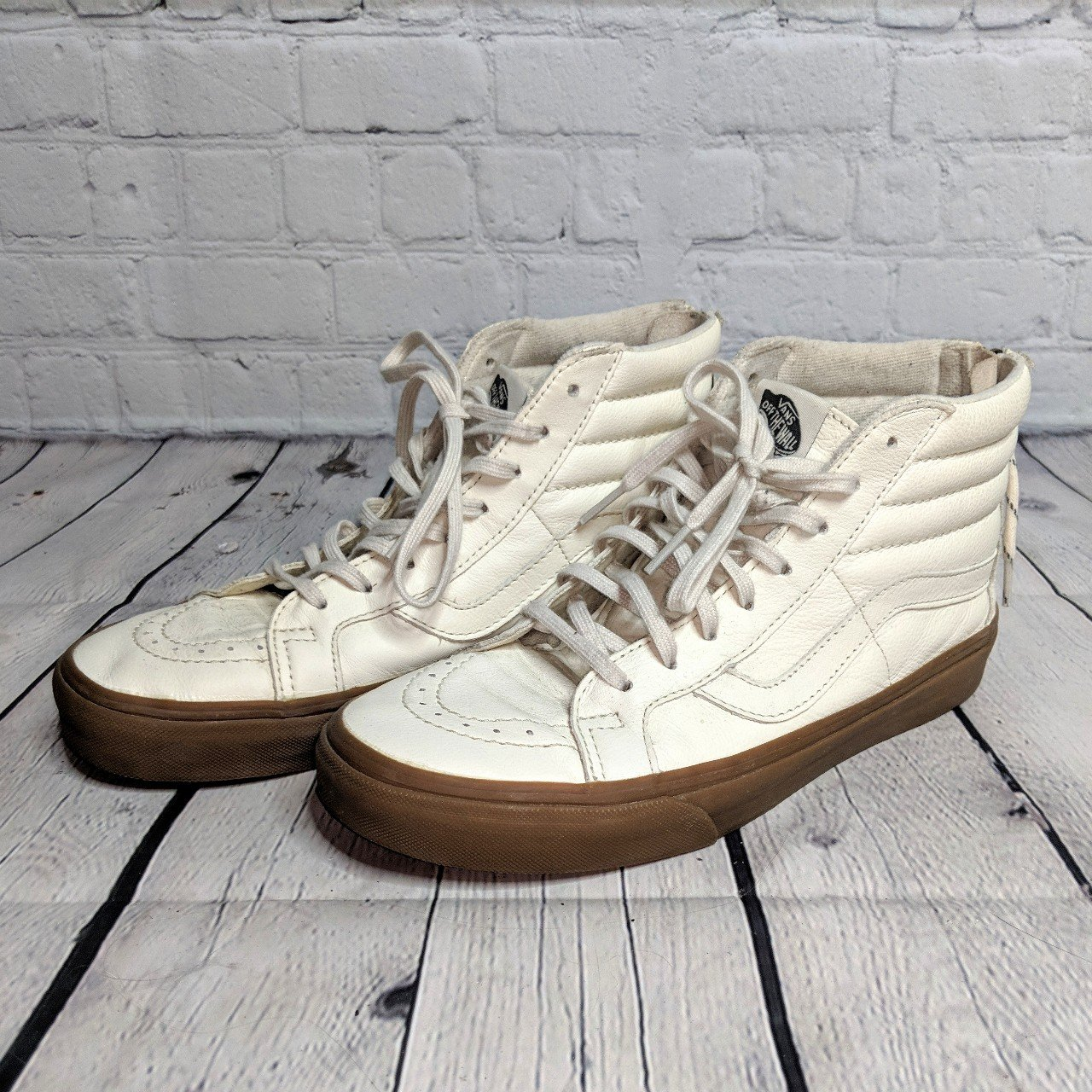Limited edition cream leather Vans Sk8 Hi shoes with brown a - Depop cfbf9186c