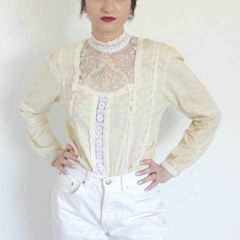 e9d894b2df390b High neck prairie blouse with high neck, sheer lace yoke and - Depop