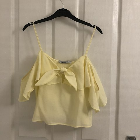 b94cb38d41b083 Zara strap top with floaty off shoulder sleeves Yellow XS a - Depop