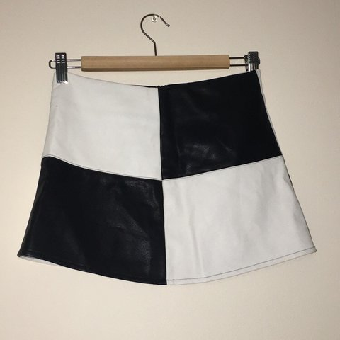 0dde7927f1 Unif black and white faux leather skirt originally bought - Depop