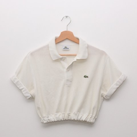 38f0192ff1f948 Cream Lacoste polo crop top. Crocodile on chest. Would best - Depop