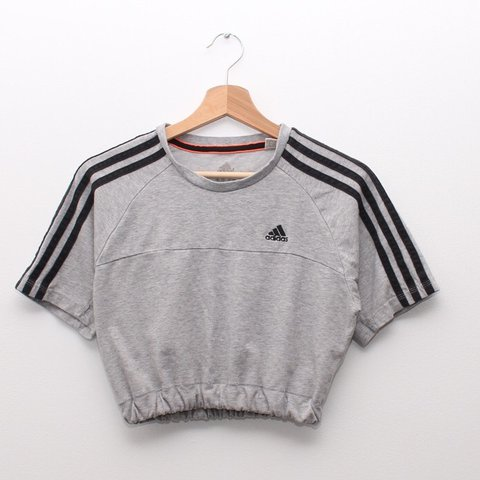 22fe8f2cf41c4 Grey Adidas crop top. Black embroidered logo with 3 best fit - Depop