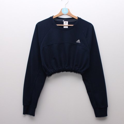 f424b8a3e9f47 Navy blue Adidas cropped sweater. Embroidered white logo. in - Depop