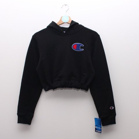 c91a12ebee9b Brand new with Tags black Champion cropped hoodie. Fluffy on - Depop