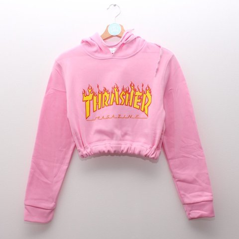 e1b9719354e Baby Pink Bootleg Thrasher Flame cropped hoodie. in a crop / - Depop
