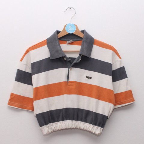 1fae527dfcf433 Orange Grey and Cream striped Lacoste Polo crop top. on best - Depop