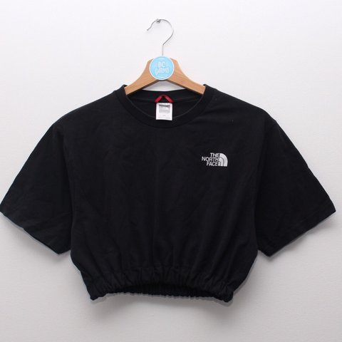 b8331345d551c Black The North Face crop top. White logo on front and red   - Depop