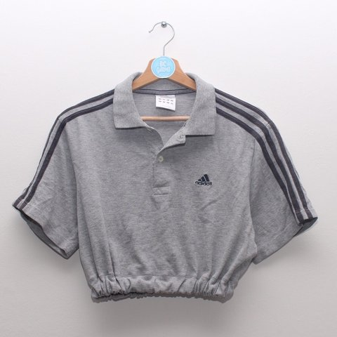 fe0d4bbc52179 Grey Adidas polo crop top. Black embroidered logo and 3 best - Depop
