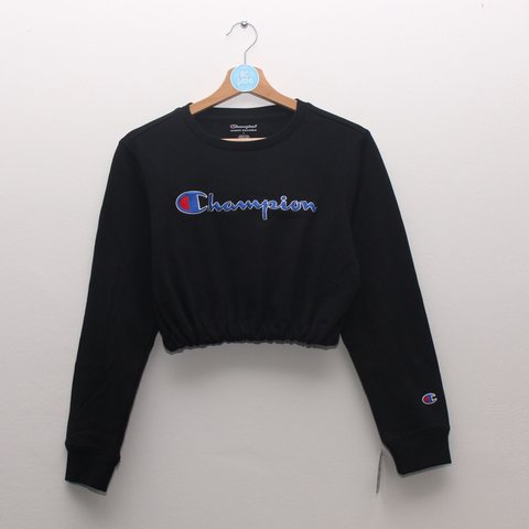 020823720cfbb Black Champion cropped sweatshirt  jumper. Brand new with in - Depop