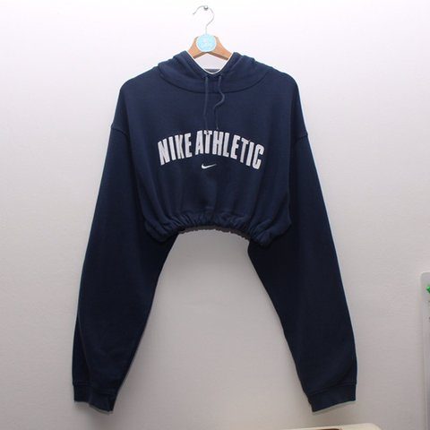 78ac60da75e1c Navy blue Nike Cropped hoodie. Vintage. White embroidered is - Depop