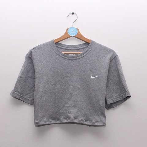1759319c0bb9e Grey Nike crop top. White embroidered tick. No elastic. best - Depop