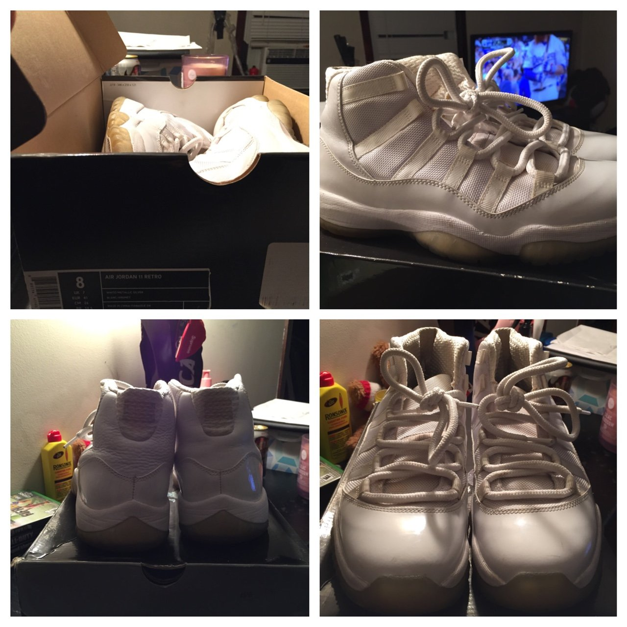 437c347d4c9b White anniversary 11s size 8 8 10 condition clean just dirty - Depop