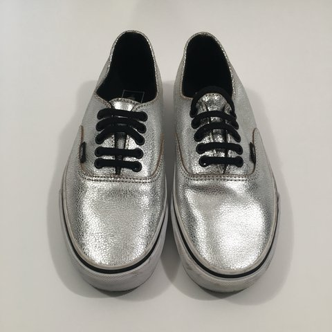 a7caa597d6fb27 Genuine Silver Pebbled Leather Vans Condition  Like New very - Depop