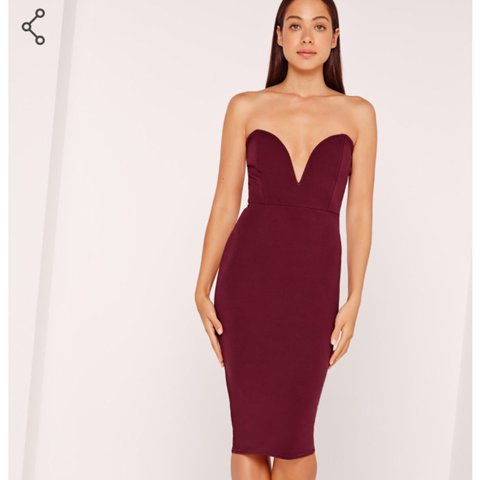 Burgundy deep red plunge midi dress. Worn once for a Give X - Depop 0fdaba17d