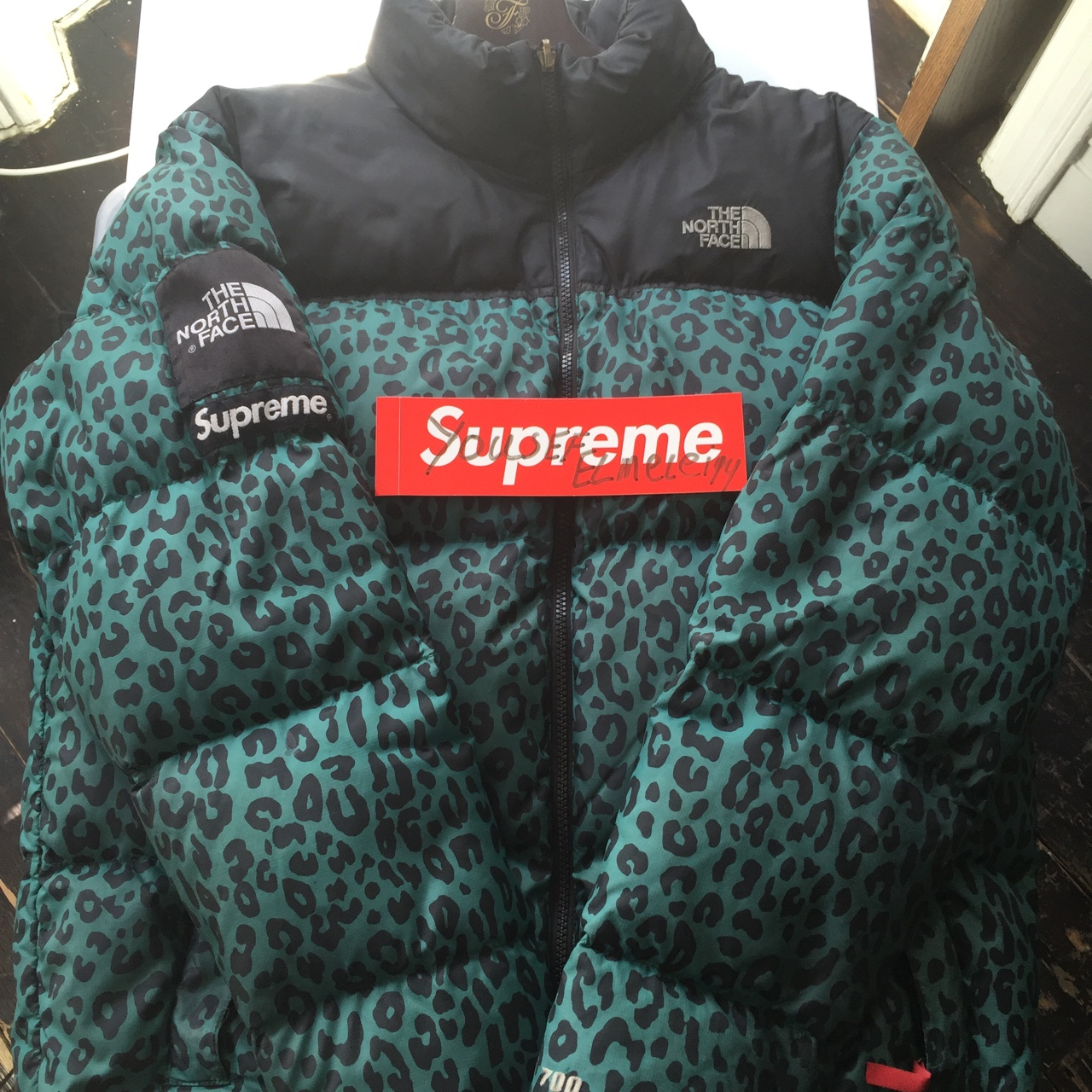 29c8167a3 Supreme x The north face green leopard nuptse... - Depop