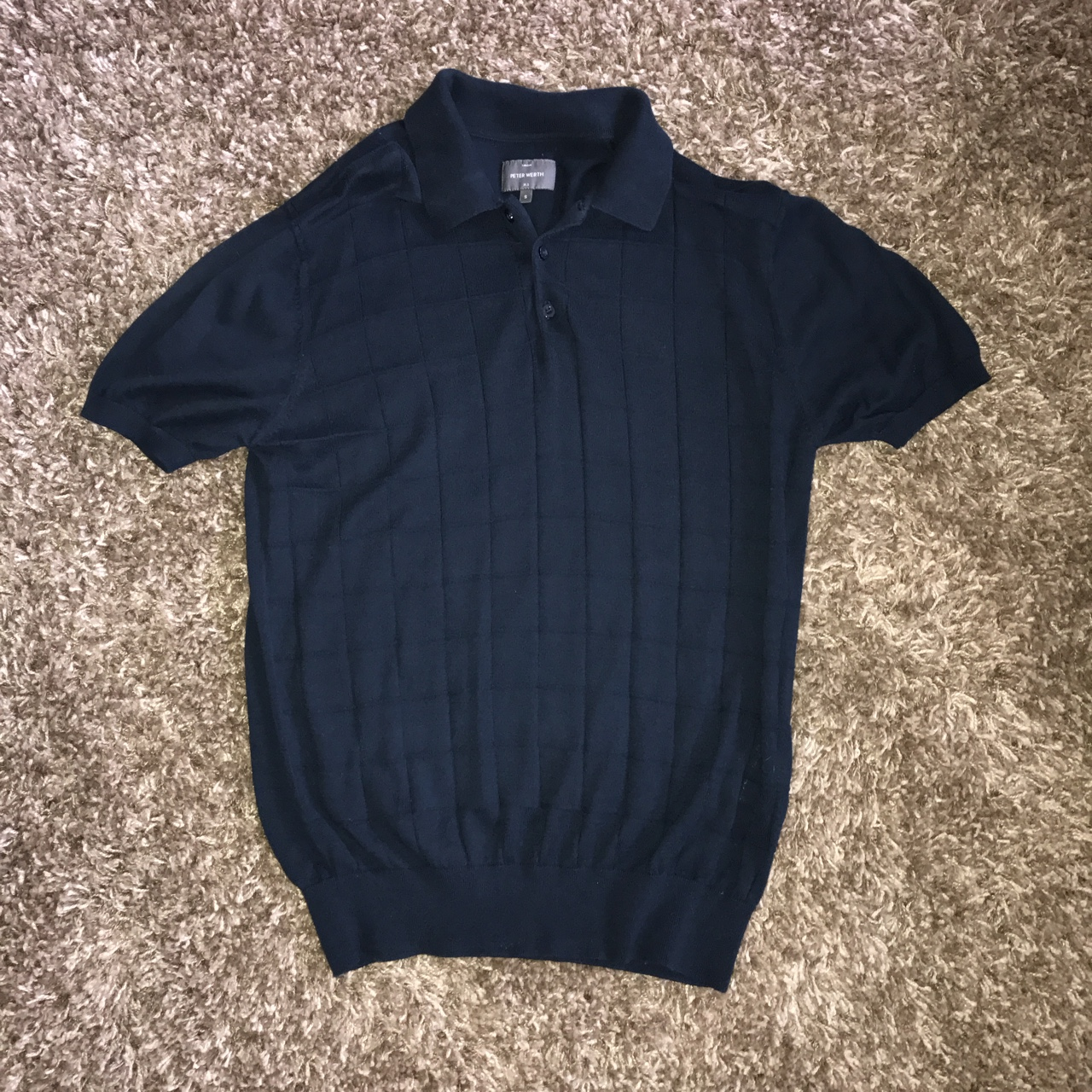 Knitted polo shirt from Peter Werth in navy, Small Depop