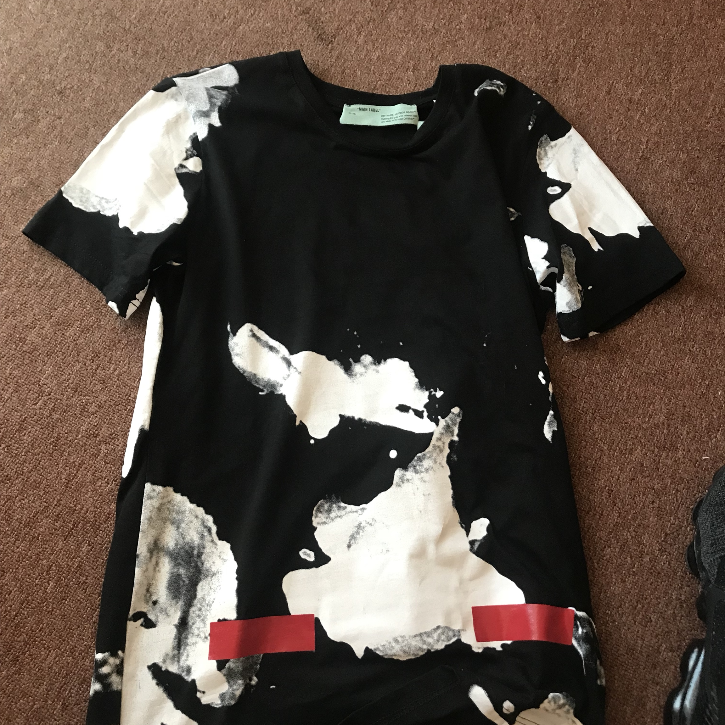 Off white liquid spots tee, worn once no tags, Depop