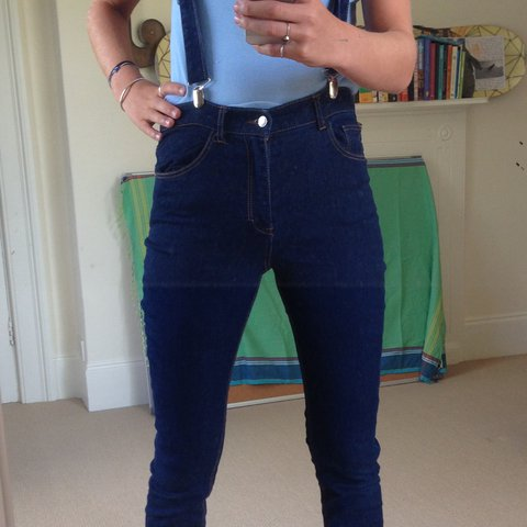 bcc14e39f71 Retro denim jeans with funky suspenders !! Really comfy and - Depop